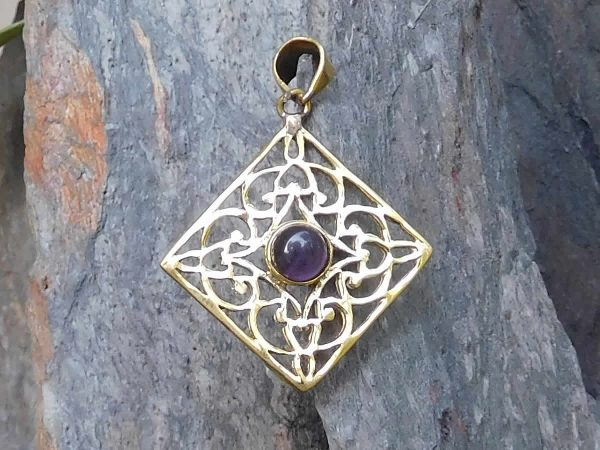 Amethyst Diamond Lattice Pendant by Avashy