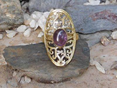 Amethyst Oval Lattice Ring by Avashy