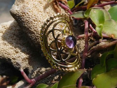 Amethyst Seed of Life Ring by Avashy