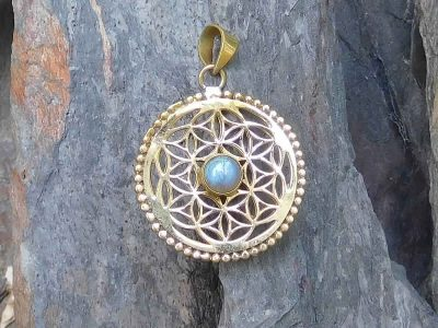 Labradorite Flower of Life Pendant Necklace