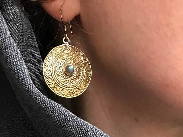 Labradorite Mandala Earrings by Avashy