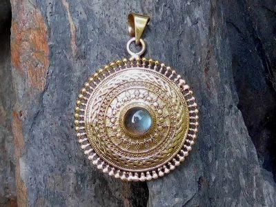 Labradorite Mandala Pendant Necklace