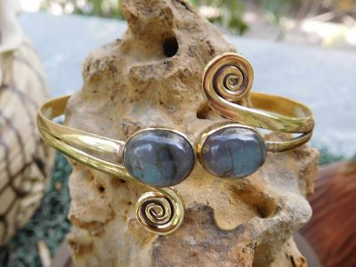 Labradorite Twin Stone Spirals Bangle Blue by Avashy