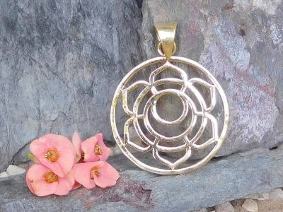 Lotus Moon Charm Pendant Necklace