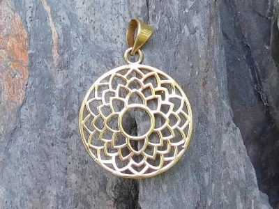 Lotus Petals Brass Charm Pendant Necklace