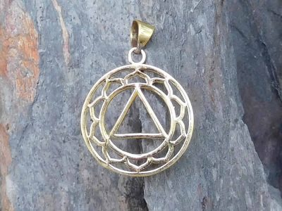 Lotus Triangle Charm Pendant Necklace