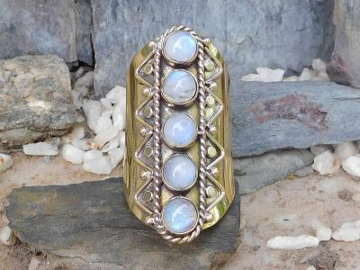 Rainbow Moonstone Finger Sleeve Ring by Avashy