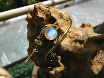 Rainbow Moonstone Lotus Cuff Bangle
