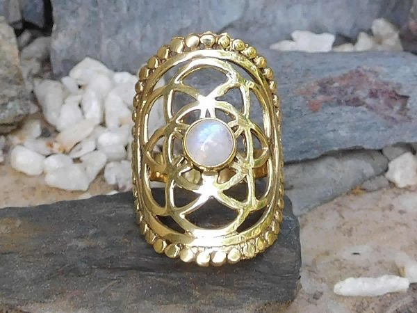 Rainbow Moonstone Seed of Life Ring by Avashy
