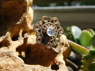 Rainbow Moonstone Spirals Mandala Ring