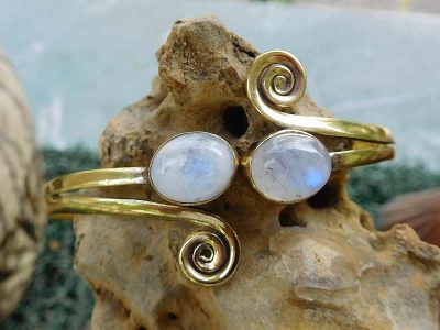 Rainbow Moonstone Spirals Cuff Bangle