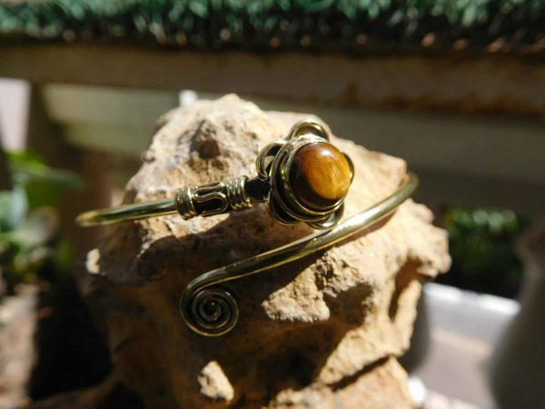 Tiger's Eye Lotus Spiral Bangle by Avashy