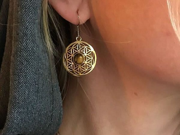 Tiger's Eye Seed Of Life Earrings by Avashy