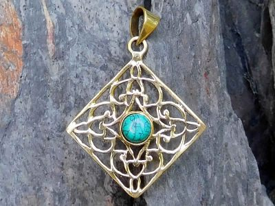 Turquoise Diamond Lattice Pendant Necklace