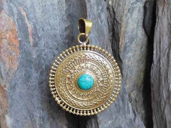 Turquoise Mandala Pendant by Avashy